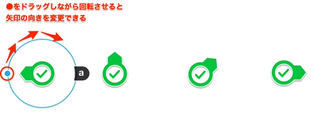 スタンプの矢印の向きを変更する方法